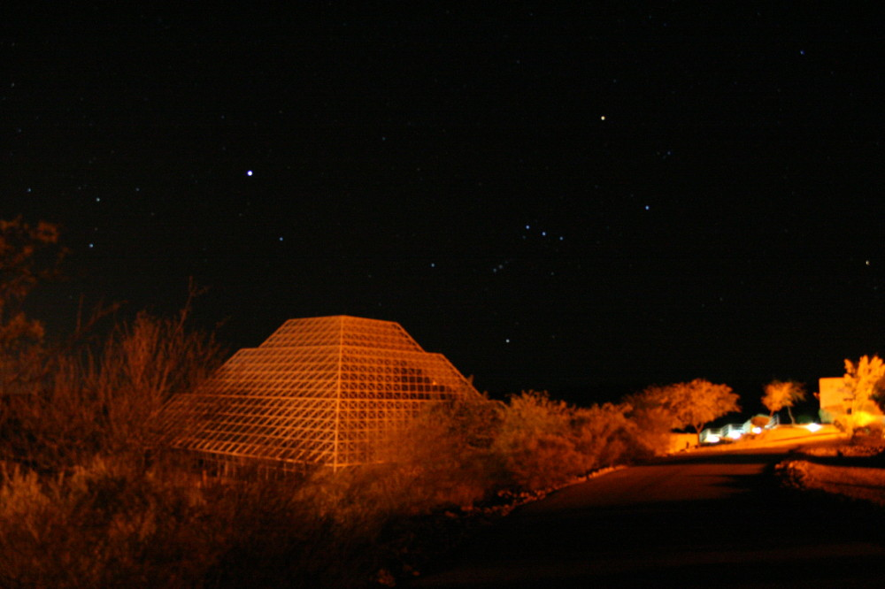 Biosphere 2 at night.